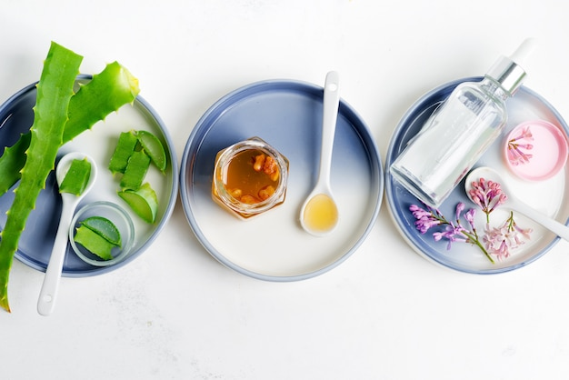 Ingredientes naturales para hacer lociones cosméticas caseras o aceites esenciales sobre un fondo gris claro.