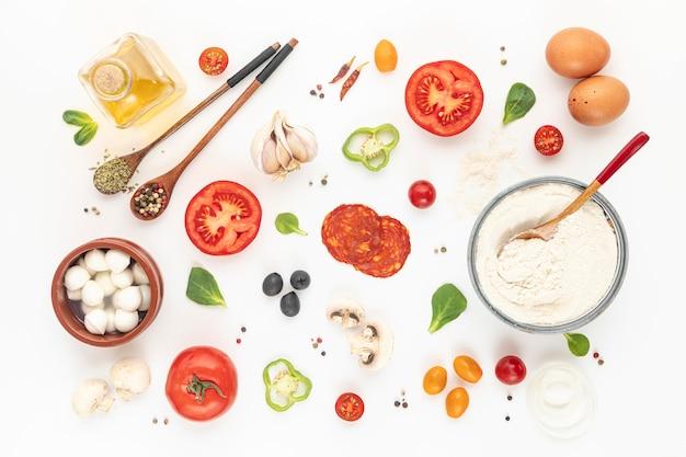 Ingredientes de pizza planos