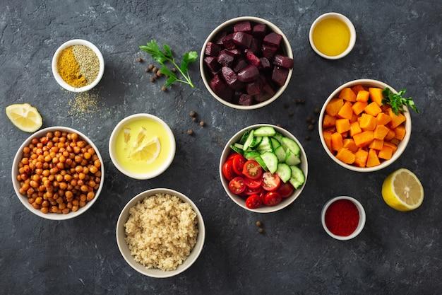 Ingredientes para platos veganos.