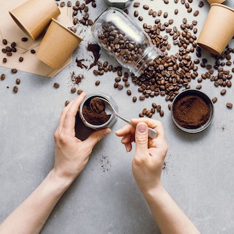 Ingredientes para preparar café plano