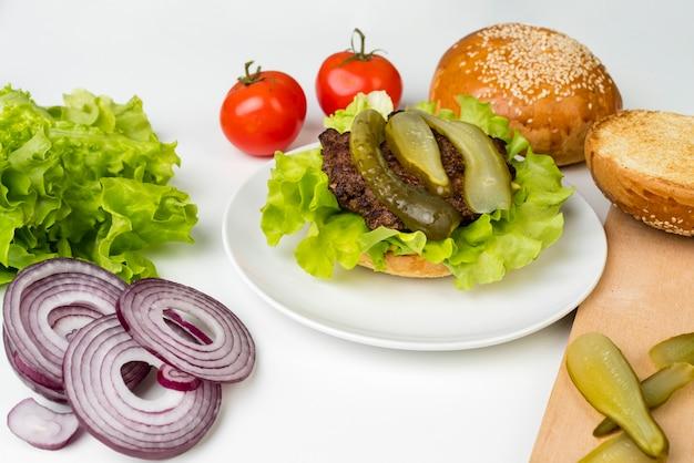 Ingredientes para sabrosa hamburguesa