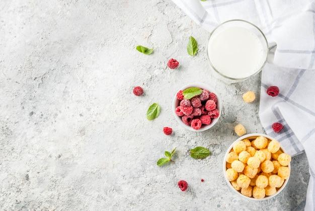Ingredientes saludables para el desayuno. cereal de desayuno, vaso de leche o yogur, frambuesas y menta sobre fondo de piedra gris, vista superior del espacio de copia