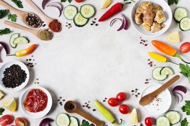 Ingredientes de sándwich de kebab árabe endecha plana
