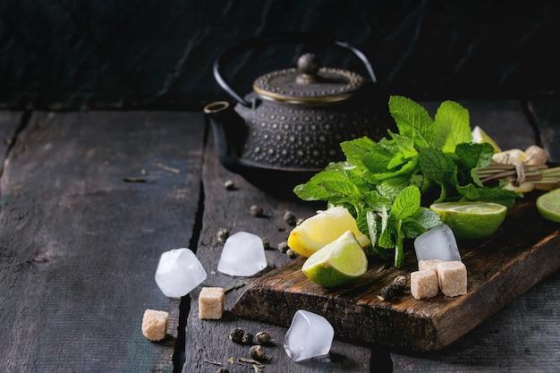 Ingredientes para té verde hielo