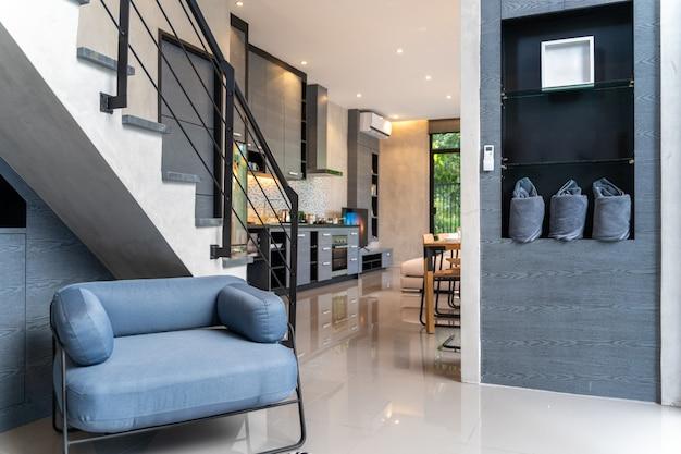 Inicio de diseño de interiores en sala de estar de la casa