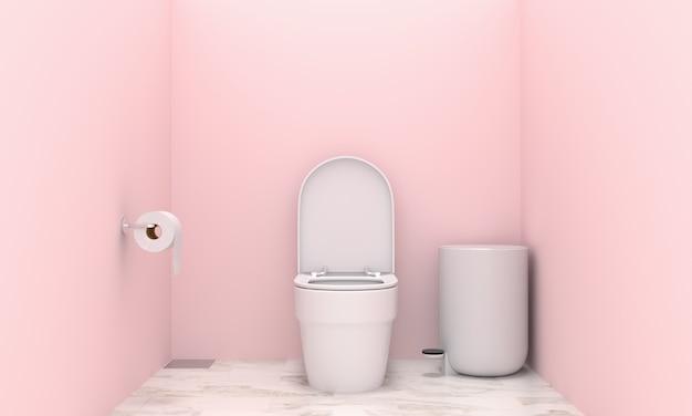 Inodoro en interior de inodoro rosa