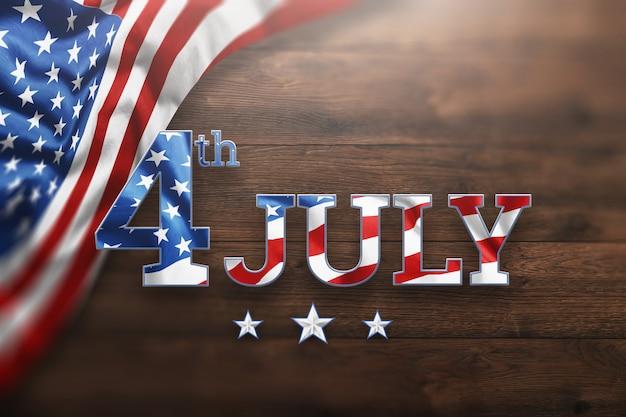 Inscripción el 4 de julio sobre fondo de madera para el día de la independencia de estados unidos.