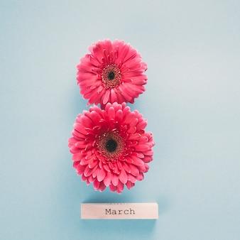 Inscripción del 8 de marzo con flores de gerbera.