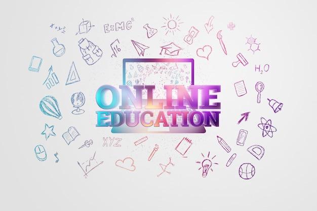 Inscripción educación en línea en luz con iconos