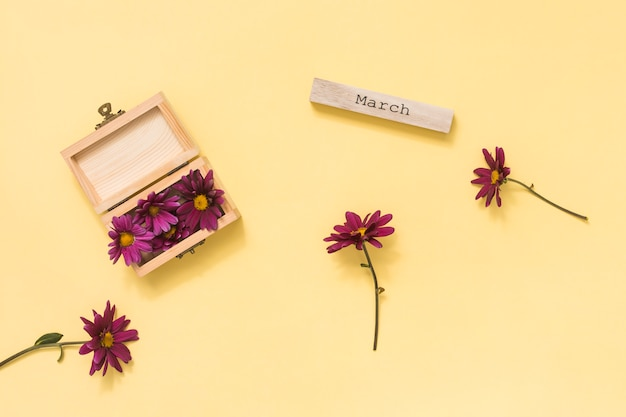 Inscripción de marzo con flores rosas en mesa