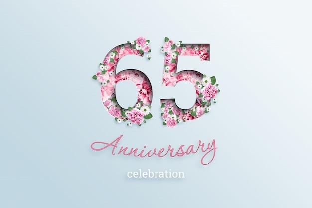 La inscripción número 65 y celebración de aniversario textis flores, en una luz