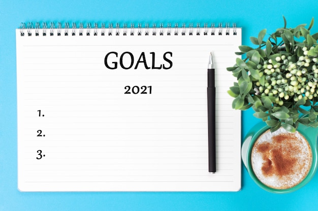 Inscripción objetivo 2021 en organizador blanco y planta verde sobre fondo azul