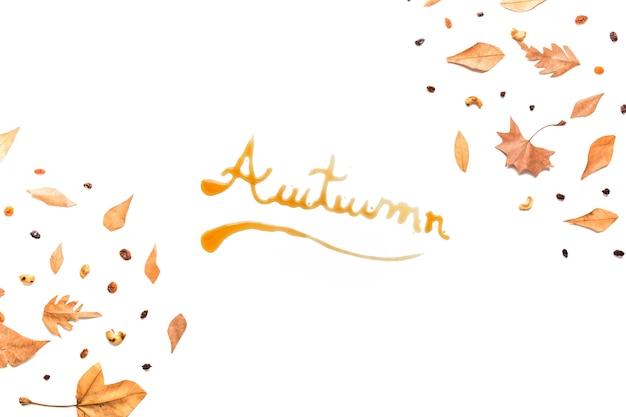 Inscripción otoñal en el marco del bosque de otoño