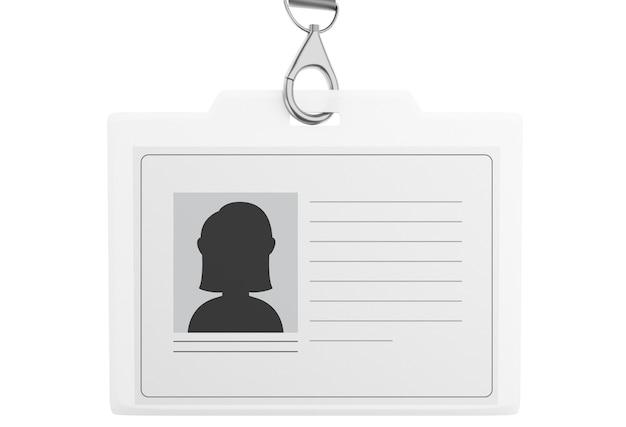 Insignia de identificación plástica blanca 3d con el acollador