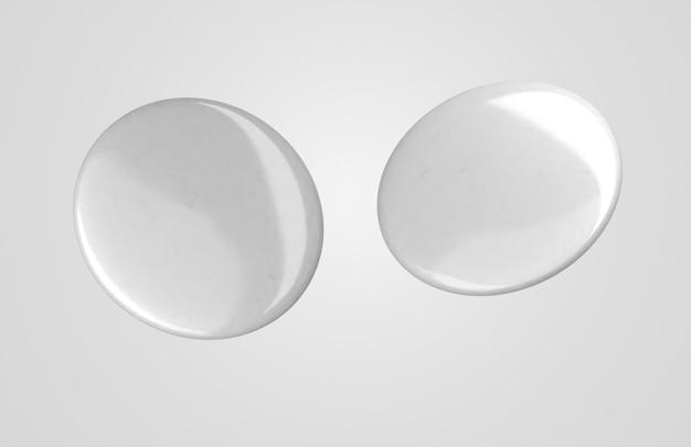 Insignias 3d blancas en blanco con luz
