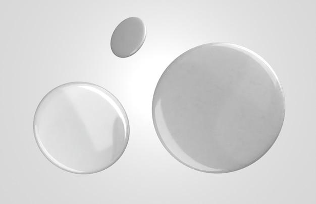 Insignias 3d blancas en blanco volando