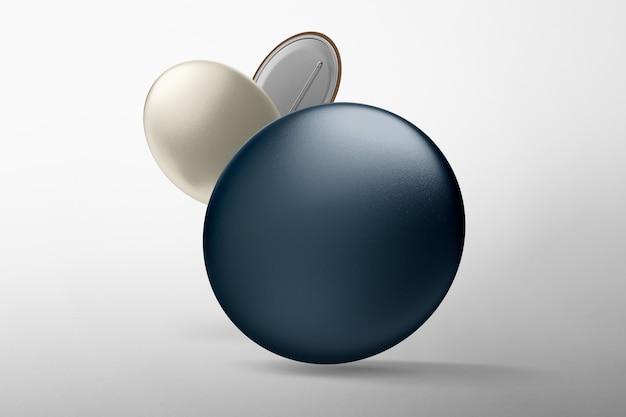 Insignias de pin azul, diseño en blanco