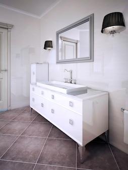 Inspiración para un baño elegante. render 3d