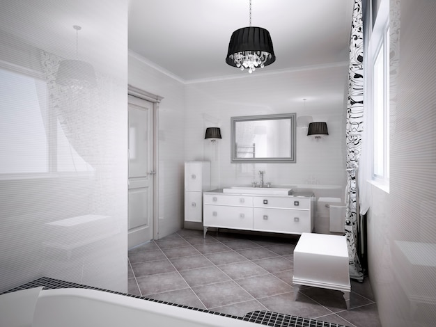 Inspiración para el baño moderno en colores claros. tema de albaricoque pálido. render 3d