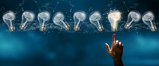 Inspiración creativa e innovación concepto de idea brillante de negocios