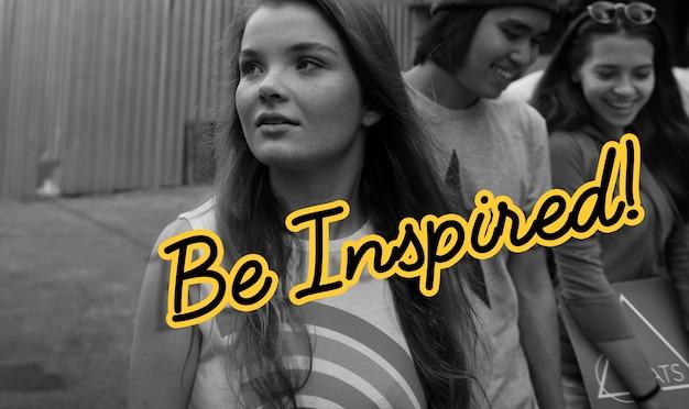 Inspirar el concepto de palabra de positividad de inspiración