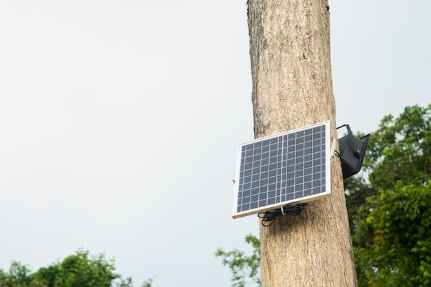 Instalación de células solares en el árbol.