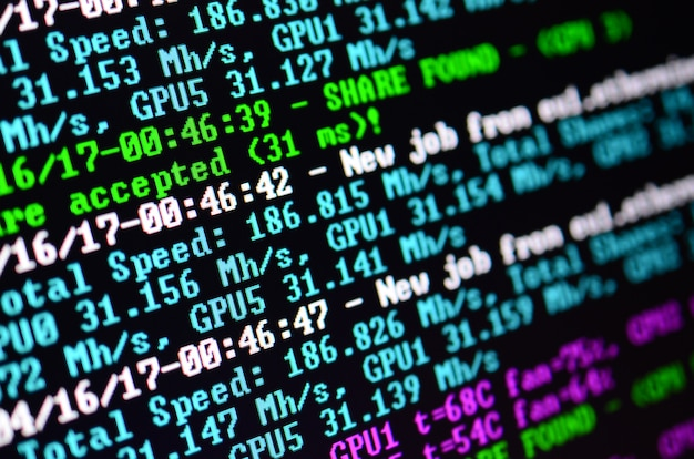 Instantánea macro de la interfaz del programa para crypto currency.