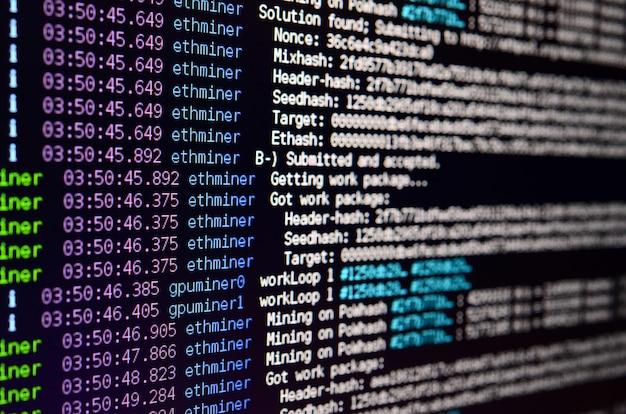 Instantánea macro de la interfaz del programa para la extracción de moneda criptográfica
