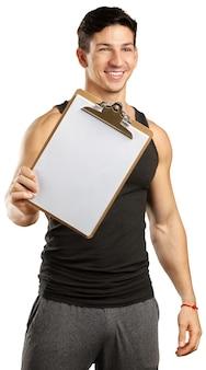 Instructor sosteniendo un archivo aislado en blanco