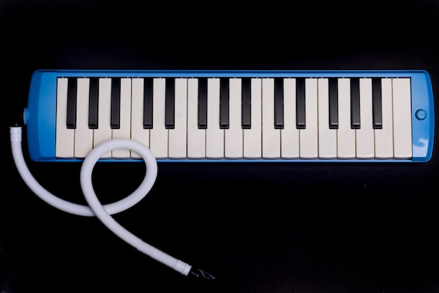 Instrumento musical de órgano de golpe pianica con fondo negro