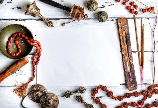 Instrumentos musicales religiosos para la meditación y medicina alternativa.