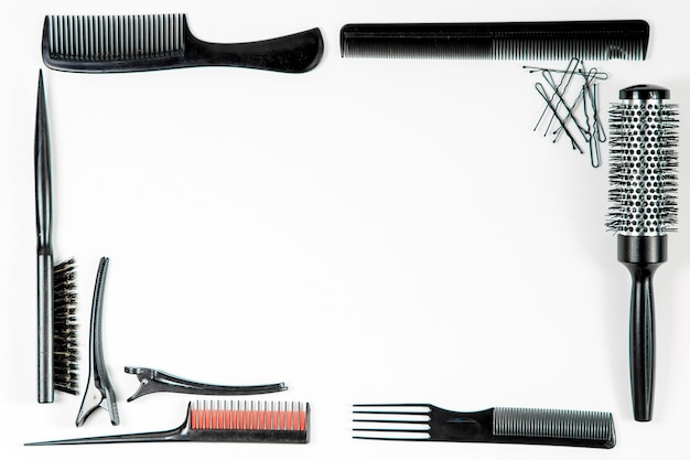 Instrumentos de peluquería vista superior.
