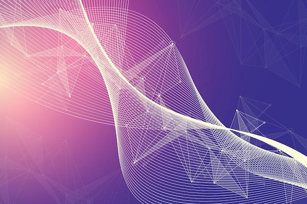 Inteligencia artificial futurista y concepto de aprendizaje automático. visualización de big data humana. comunicación de flujo de ondas, ilustración científica.