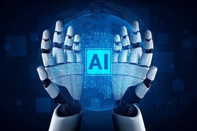 Inteligencia artificial investigación de ia del desarrollo de robots y cyborg
