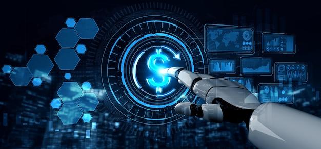Inteligencia artificial investigación de inteligencia artificial del desarrollo de robots y cyborg para el futuro de las personas que viven.