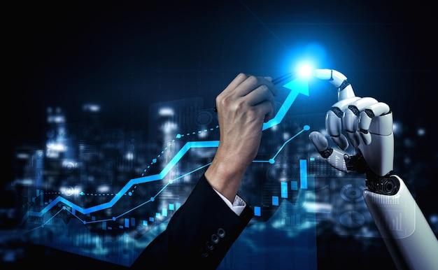 Inteligencia artificial investigación de inteligencia artificial sobre el desarrollo de robots y cyborg para el futuro de las personas que viven