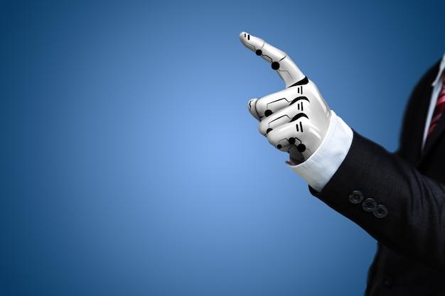 Inteligencia artificial robot de mano.