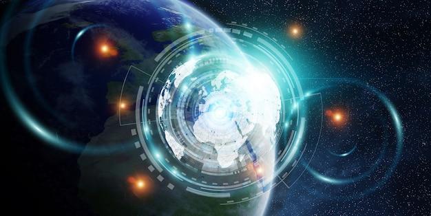 Intercambio de datos y red global sobre el mundo. representación 3d.