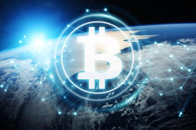 Intercambios de bitcoins en el planeta tierra representación 3d