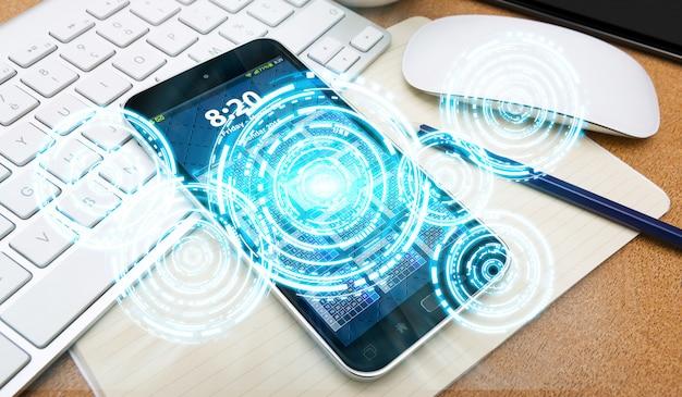 Interfaz digital y teléfono móvil.