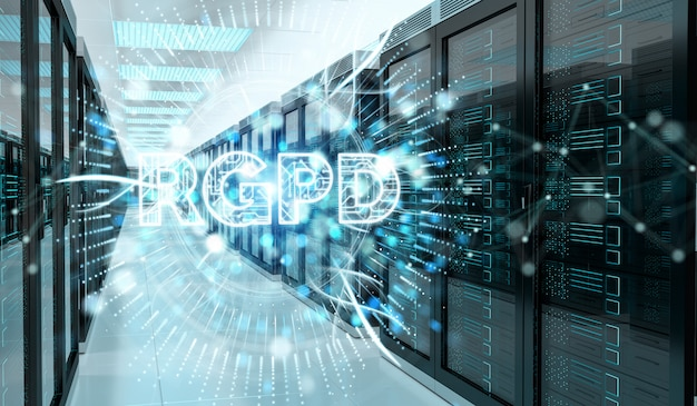 Interfaz gdpr digital en renderizado 3d de sala de servidores