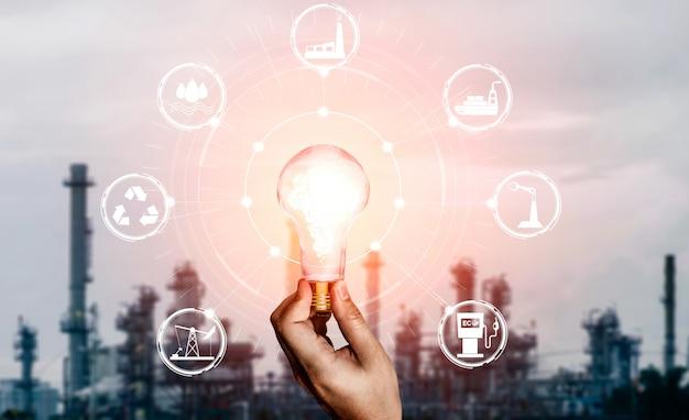 Interfaz gráfica de bombilla de innovación energética.