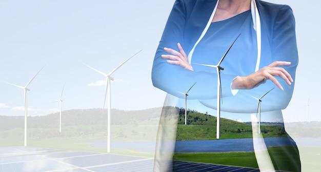 Interfaz gráfica de doble exposición de turbina eólica