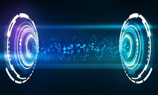 Interfaz musical con onda de flujo de energía sonora.