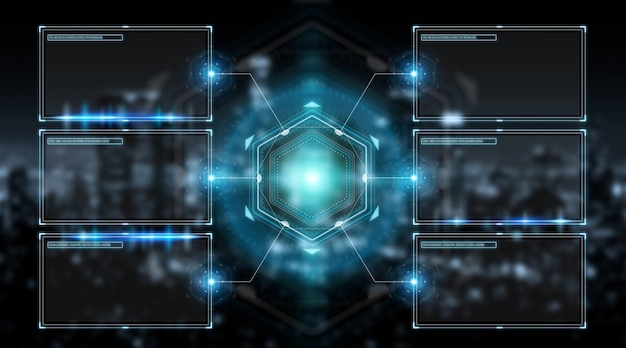 Interfaz de pantallas digitales con hologramas de datos en 3d.