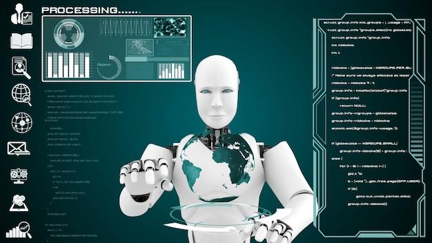 Interfaz de robot futurista para análisis y programación de datos