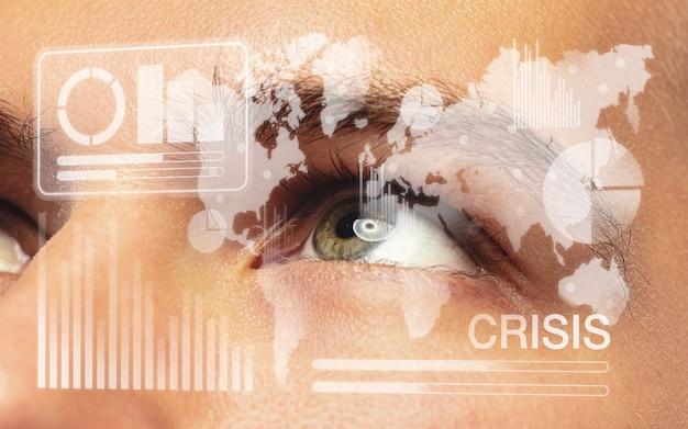 Interfaz de tecnología moderna y efecto de capa digital frente al ojo humano lleno de esperanza como negocios, crisis financiera, recesión económica, concepto de desempleo. analizando información, iconos de neón.