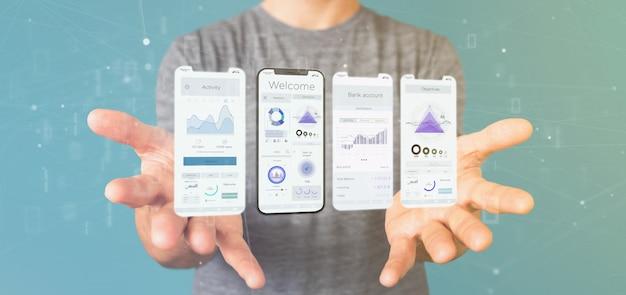 Interfaz de usuario de la interfaz de la aplicación en un teléfono inteligente - representación 3d