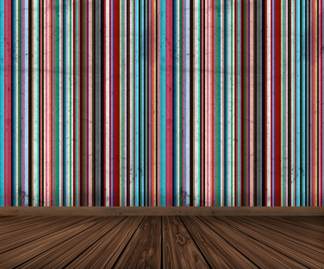 Interior 3d con papel pintado a rayas grunge y piso de madera