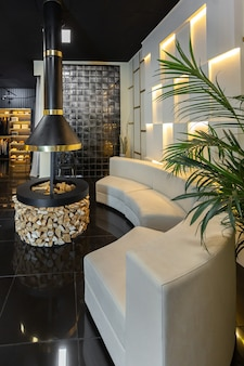 Interior de apartamento masculino con estilo moderno oscuro con iluminación, paredes decorativas, chimenea, vestidor y ventana enorme